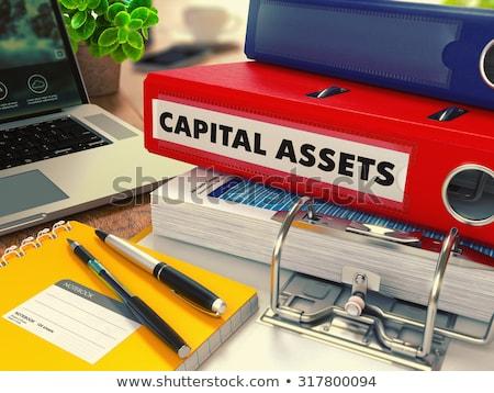 Czerwony biuro folderze napis majątek pulpit Zdjęcia stock © tashatuvango