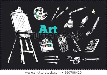 кистью палитра икона мелом рисованной Сток-фото © RAStudio