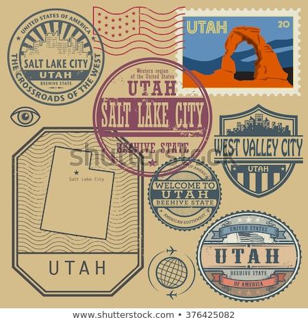 Rubber inkt stempel Utah tekst Stockfoto © Bigalbaloo