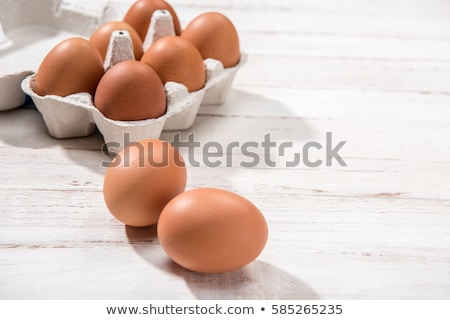 Tyúk tojások tojás doboz hat fehér Stock fotó © fotoquique