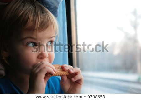 little girl eats cookies end looks in train`s window stock photo © Paha_L