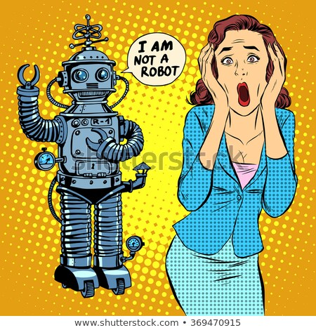 Science-fiction horreur robot femme panique pop art Photo stock © studiostoks