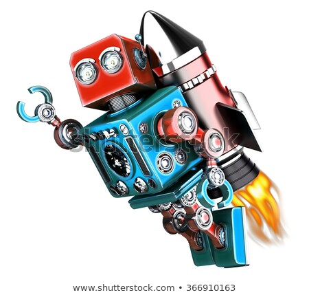 Stock photo: Flying retro robot. Isolated. Contains clipping path