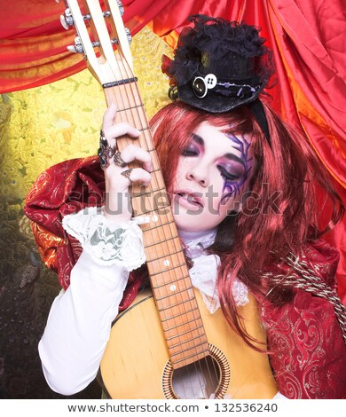 Stock photo: Guitar girl with artistic make-up
