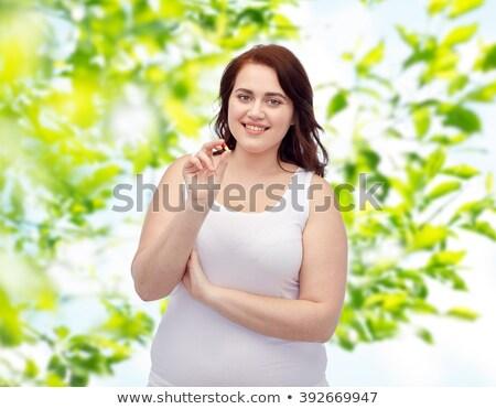 szczęśliwy · plus · size · kobieta · bielizna · pigułki - zdjęcia stock © dolgachov