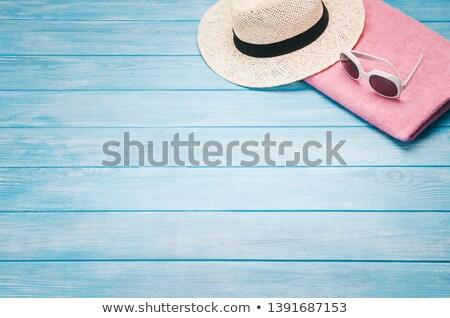 пляжное полотенце древесины лет кадр белый Сток-фото © neirfy