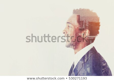 double exposure of a african american young businessman for ecol stock photo © zurijeta
