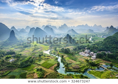 landscape with a mountain river cloudy morning stock photo © kotenko