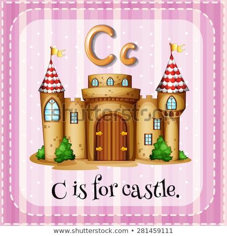 C betű kastély illusztráció háttér művészet oktatás Stock fotó © bluering