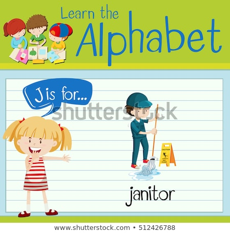 Flashcard letter J is for janitor Stock photo © bluering