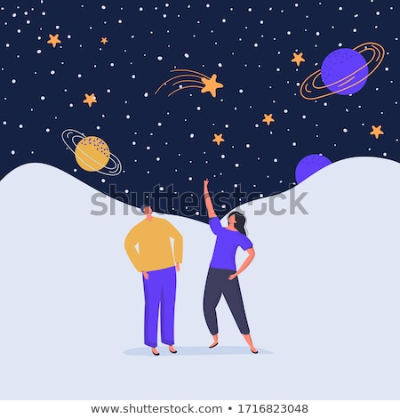 The young female watching the  moon. Stock photo © orla