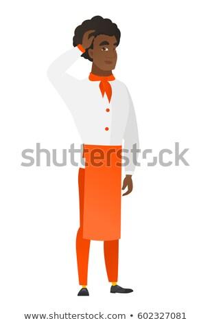 African-american chef cook scratching his head. Stock photo © RAStudio