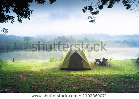 Stock photo: Morning landscape with camping in the mountains