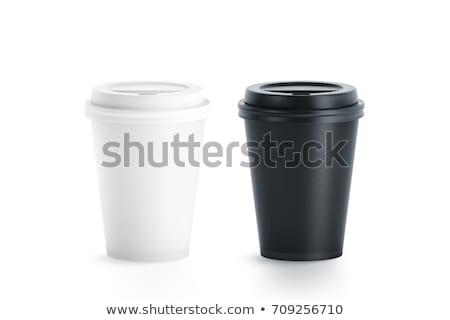 Stock fotó: Kávéscsésze · papír · csésze · fekete · izolált · fehér