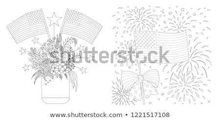 American flag with colored fireworks Foto stock © -Baks-