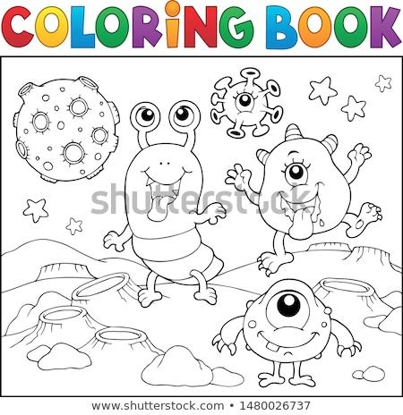 книжка-раскраска монстр книга глаза счастливым искусства Сток-фото © clairev
