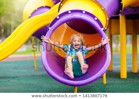 мало мальчика слайдов синий ребенка весело Сток-фото © elly_l