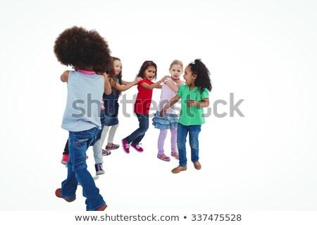 Mosolyog lányok összes tart vállak fehér Stock fotó © wavebreak_media