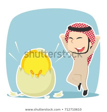 Saudi businessman happy with his bright idea business concept il Stock photo © NikoDzhi