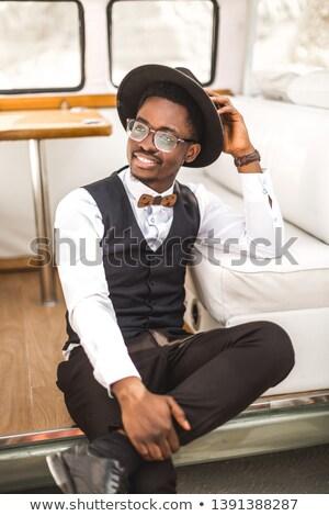 afro man in retro minivan Stock photo © LightFieldStudios