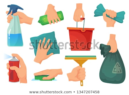 hand with a rag cleans the surface Stock photo © OleksandrO