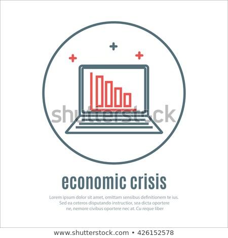 ストックフォト: アイコン · 経済の · 危機 · ノートブック · アイコン · ベクトル