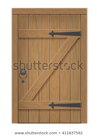 öreg fából készült ajtó izolált fehér épület Stock fotó © konturvid