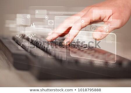 手 触れる ビジネス 成功 キーパッド 白 ストックフォト © tashatuvango