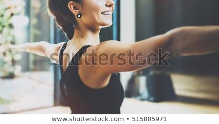 美しい スポーティー 若い女性 ヨガ 戦士 ストックフォト © Nobilior