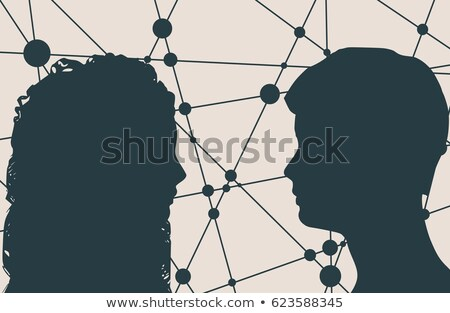 Foto stock: Line And Dots Connect Vector Geometric Abstract Molecular Structure