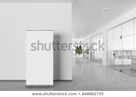 rulo · yukarı · afiş · göstermek · şablon - stok fotoğraf © user_11870380