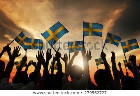 Homem bandeira Suécia multidão ilustração 3d assinar Foto stock © MikhailMishchenko
