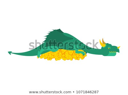 Dragon and bitcoin. Mythical Monster protects crypto currency. T Stock photo © popaukropa
