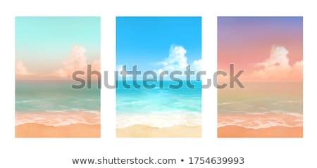 sos · eiland · palmbomen · afscheid · mensen · illustratie - stockfoto © bluering