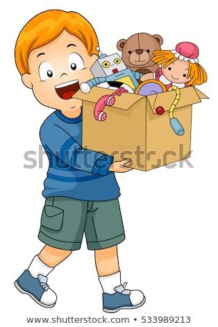 Dziecko chłopca Wyciąg polu zabawki ilustracja Zdjęcia stock © lenm