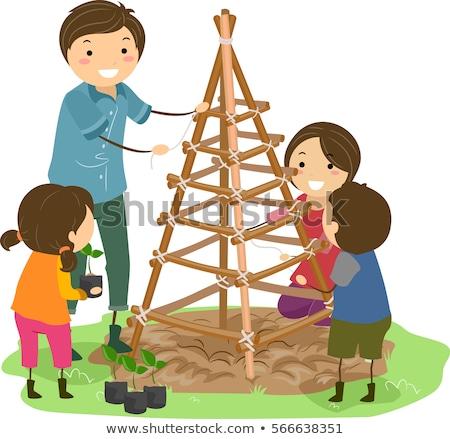 Família jardim ilustração edifício juntos Foto stock © lenm