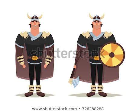 Cartoon glimlachend viking man Stockfoto © cthoman