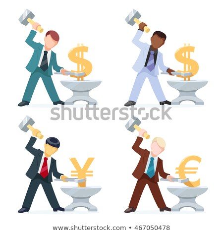 Stock photo: Businessman Blacksmith Forges Dollars Money On The Anvil