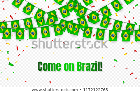 Brazil garland flag with confetti on transparent background, Hang bunting for celebration template b Stock photo © olehsvetiukha