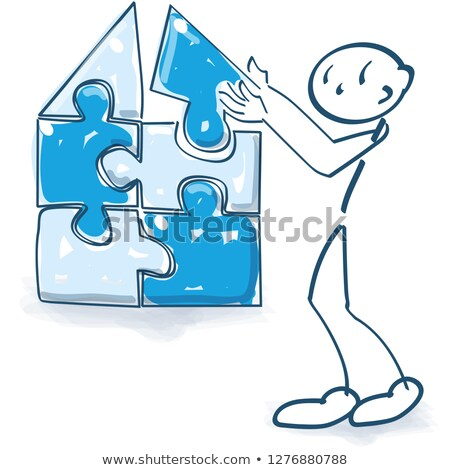 Stick figure builds a house with  a puzzle Stock photo © Ustofre9