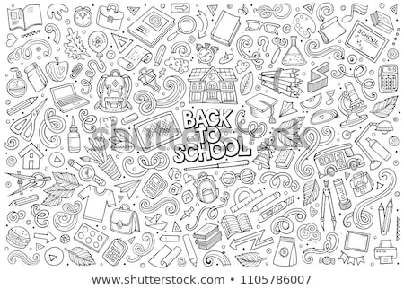 Volver a la escuela dibujado a mano garabatos papel mano dibujo Foto stock © kollibri
