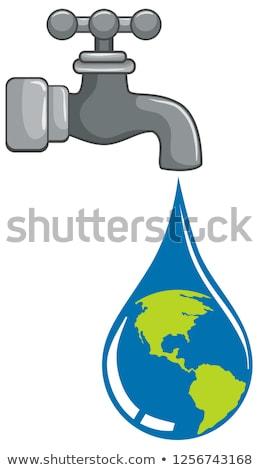 世界中 · 給水栓 · 3D · アイソメトリック · 水 - ストックフォト © bluering
