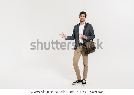 portret · gelukkig · jonge · zakenman · pak - stockfoto © deandrobot