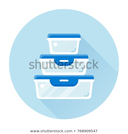 set of plastic containers for food storage isolated on white background vector cartoon close up ill stock photo © lady-luck
