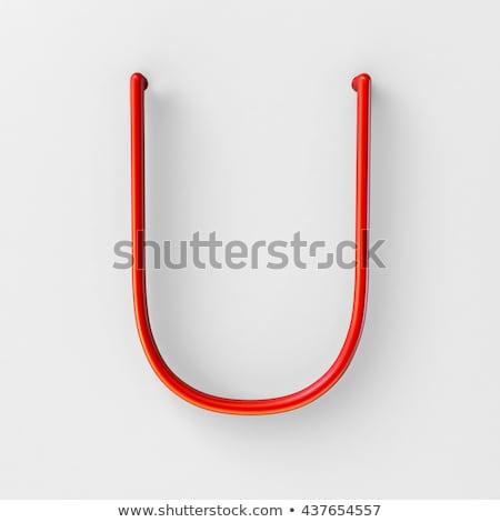 Metal red lines font Letter U 3D Stock photo © djmilic