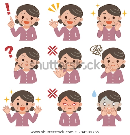 Asian Old Woman Poses Set Vector. Elderly People. Senior Person. Aged. Active Grandparent. Joy. Pres Stock photo © pikepicture