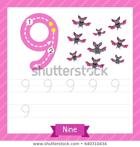 Aantal negen achtergrond kunst schrijven aap Stockfoto © colematt