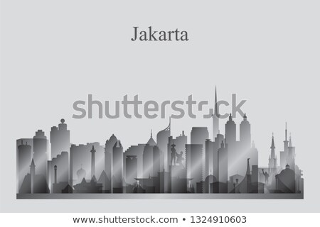 jakarta city skyline silhouette in grayscale stock photo © ray_of_light