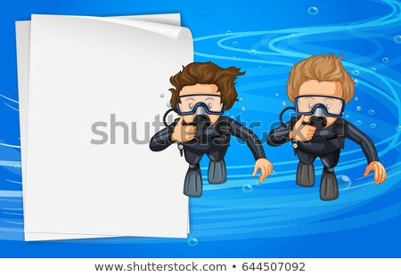 Stock photo: Paper template with two scuba divers