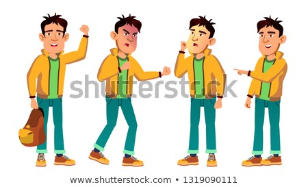 Asian Bad Boy Kid Poses Set Vector. High School Child. For Web, Poster, Booklet Design. Isolated Car Stock photo © pikepicture